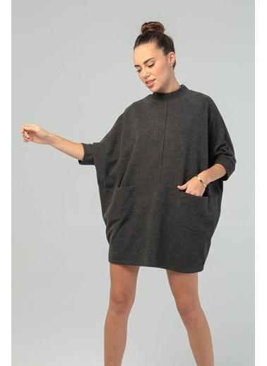 Modaset Yarasa Kol Oversize Sweatshirt Antrasit Antrasit